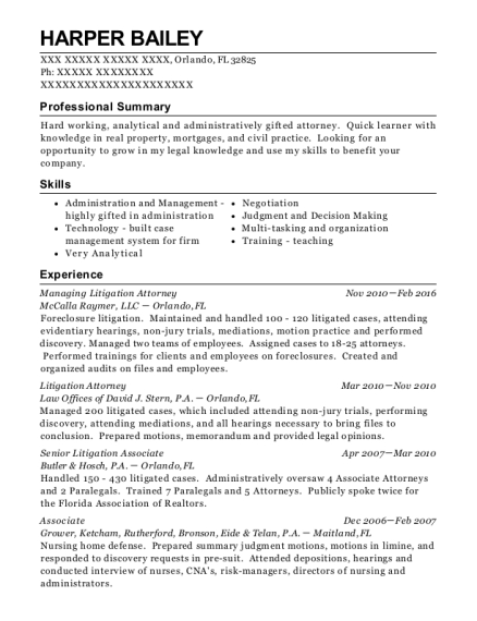 litigation attorney resumes