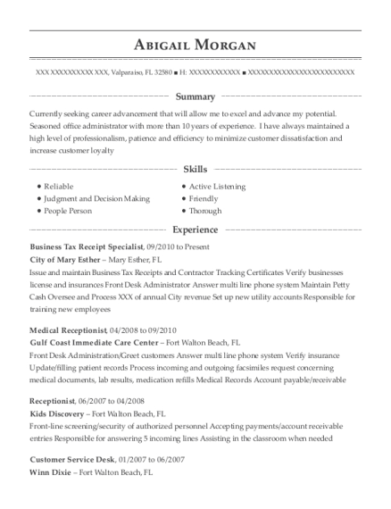 City of mary esther business tax receipt specialist resume sample people also search for m4hsunfo