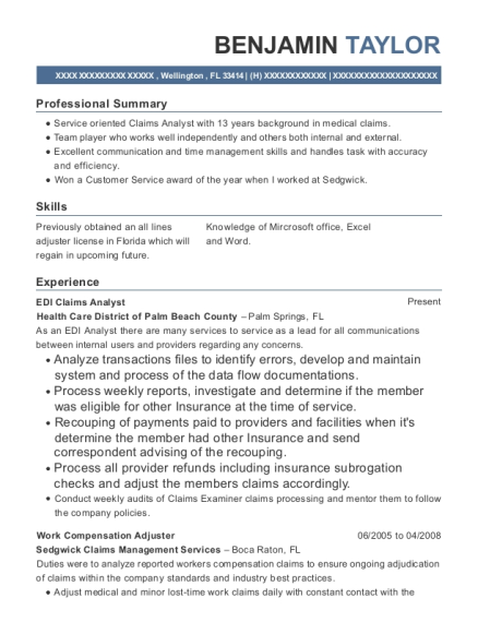 View Resume. EDI Claims Analyst