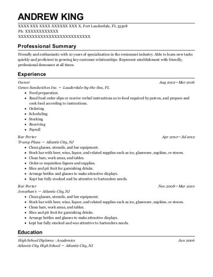Beautiful Concerge/Porter , Bar Porter. Customize Resume · View Resume