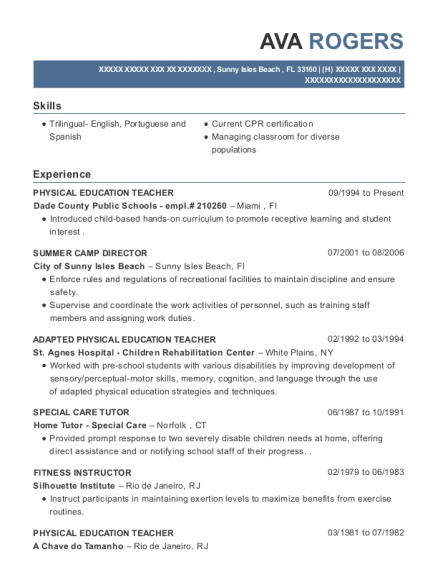 best adapted physical education teacher resumes resumehelp