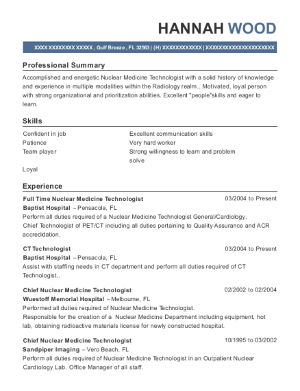 Captivating ... Part Time Nuclear Medicine Technologist. Customize Resume · View Resume