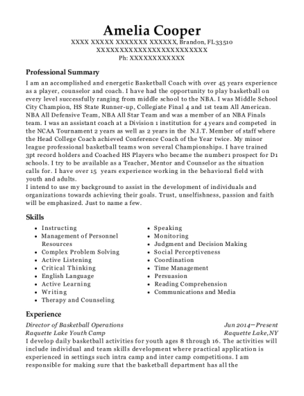 amelia cooper - Basketball Coach Resume