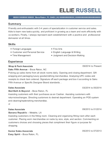 View Resume. Wrap U0026 Pack Associate