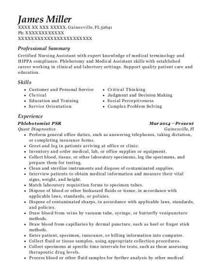 best phlebotomist psr resumes resumehelp