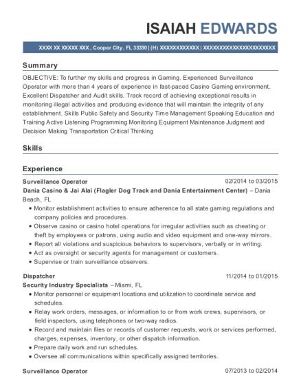 View Resume. Surveillance Operator
