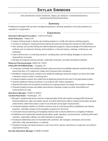 Operations Manager resume sample Georgia