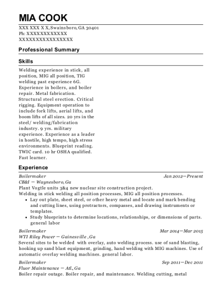 boilermaker local 502 boilermaker resume sample puyallup