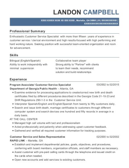 Best Program Associate/ Customer Service Specialist Resumes | ResumeHelp
