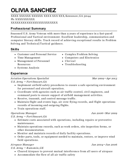View Resume. Aviation Operations Specialist