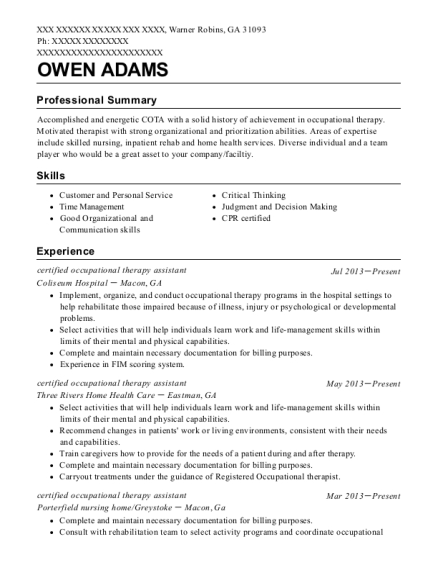 View Resume Certified Occupational Therapy Assistant