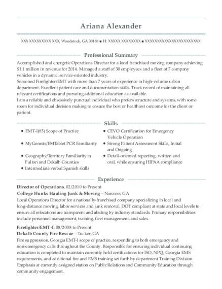newton medical center emt i resume sample
