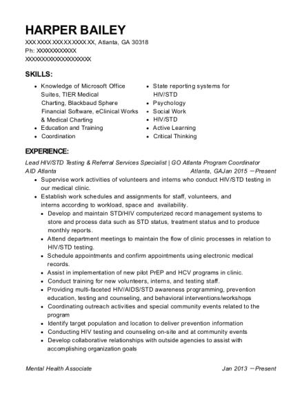Best Lead Hiv/std Testing U0026 Referral Services Specialist Resumes    ResumeHelp