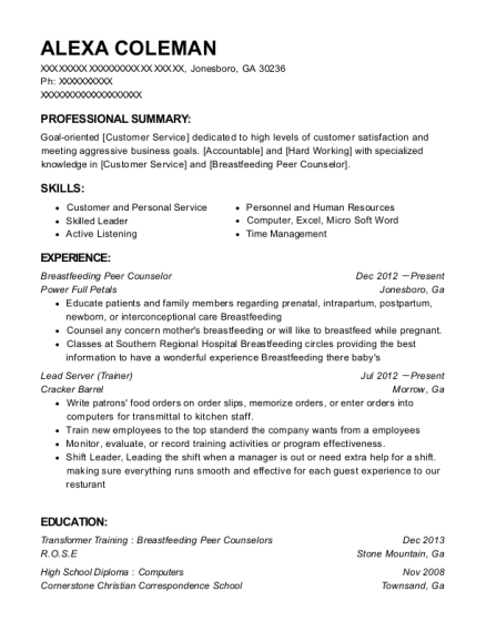 Wic Women Breastfeeding Peer Counselor Resume Sample - Colorado ...