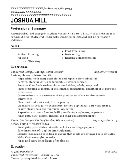 Anthony Bowen Vanderbilt Campus Dining Resume Sample - Mcdonough ...