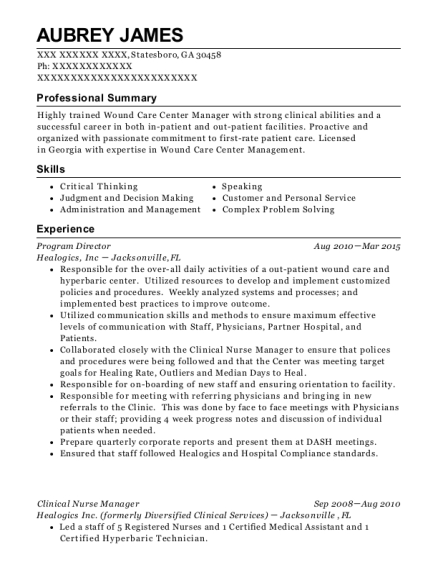 best clinical nurse manager resumes resumehelp