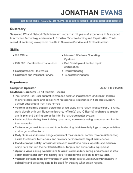 jonathan evans - Pc Technician Resume Sample