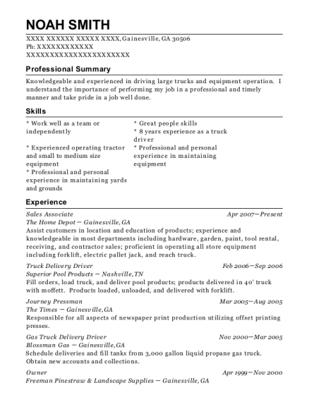 Noah Smith  Delivery Driver Resume