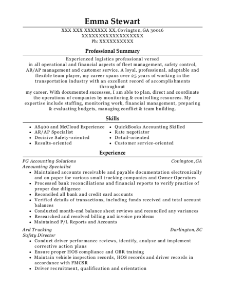 View Resume. Accounting Specialist