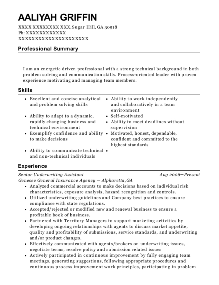 View Resume Senior Underwriting Assistant