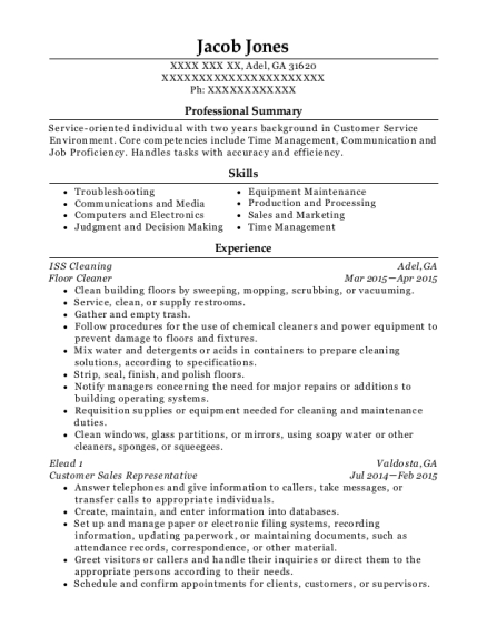 iss cleaning floor cleaner resume sample