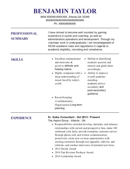 the aspire group sr sales consultant resume sample atlanta georgia