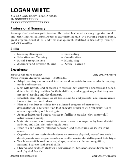 View Resume. Early Head Start Teacher
