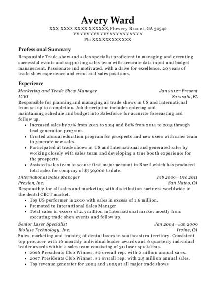trade show resume