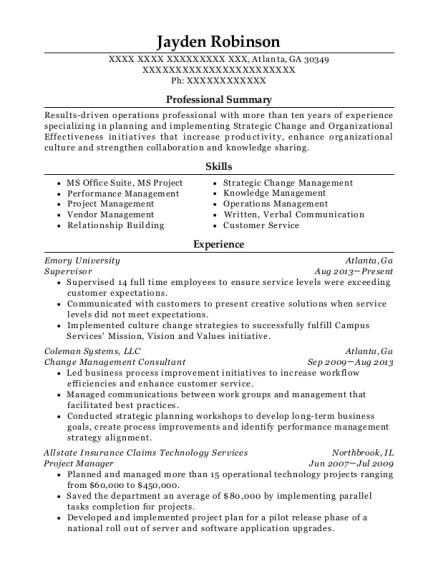 Best Change Management Consultant Resumes   ResumeHelp
