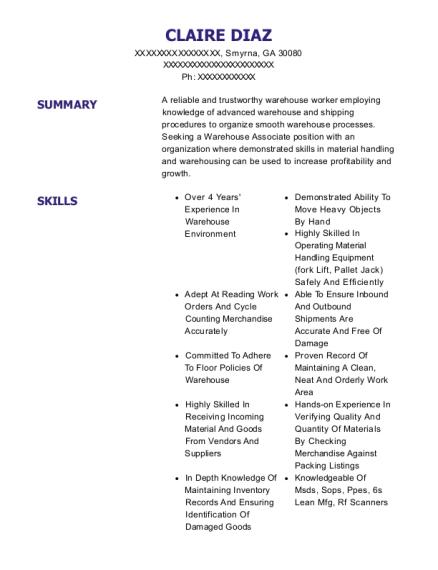 claire diaz - Warehouse Associate Resume