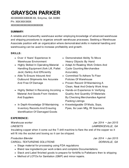 grayson parker - Warehouse Associate Resume