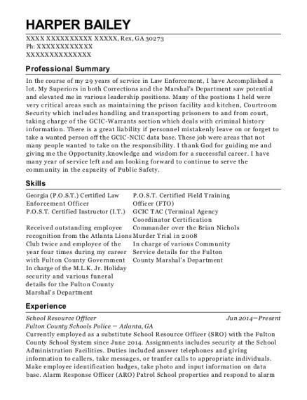 View Resume. School Resource Officer