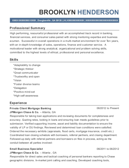 Best Sr Personal Banker Resumes | ResumeHelp