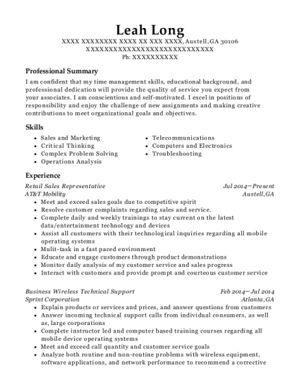 At&t Sales Support Representative Resume Sample - Fort Worth Texas ...