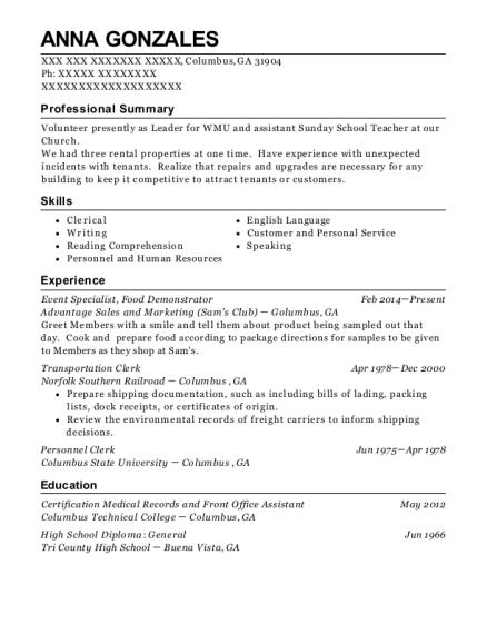 anna gonzales - Transportation Clerk Sample Resume
