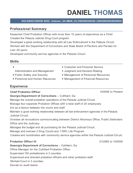 resume for probation officer