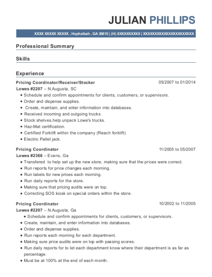 lowes resume