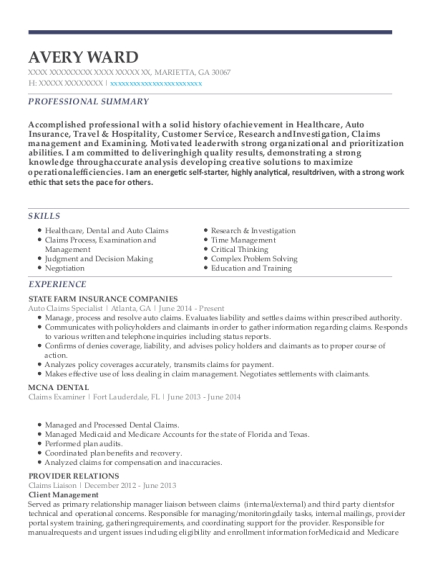 View Resume. Auto Claims Specialist