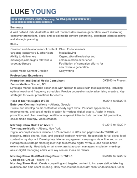 Focus Media Promotion And Social Consultant Resume Sample