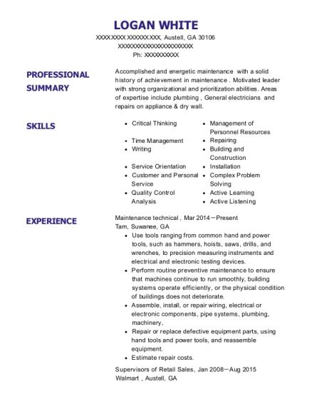 Best Maintenance Technical Resumes | ResumeHelp