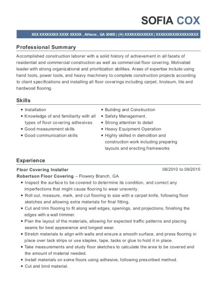 Delightful Floor Covering Installer , Alarm Installer. Customize Resume · View Resume