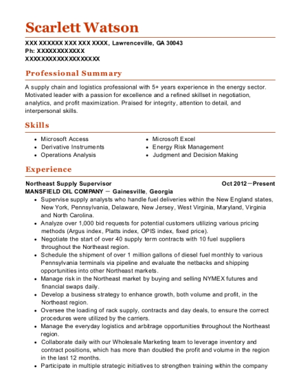 Mansfield Oil Company Northeast Supply Supervisor Resume Sample ...