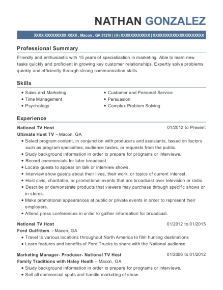 view resume national tv host - Tv Host Resume