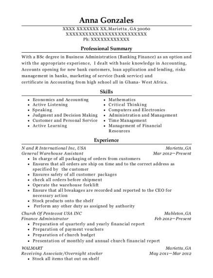 Anna Gonzales  Stocker Resume