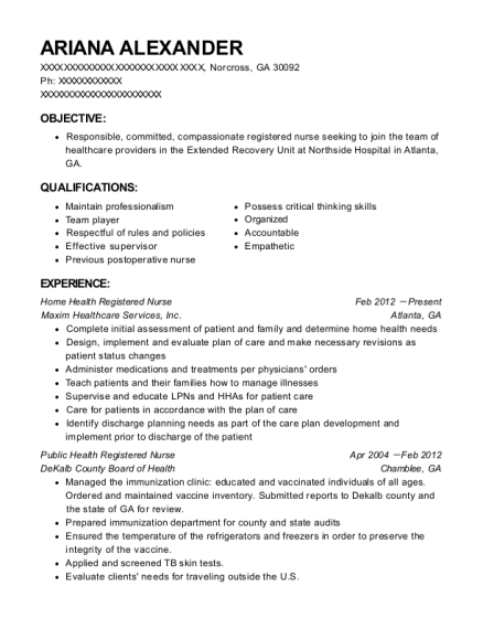 Best Public Health Registered Nurse Resumes   ResumeHelp