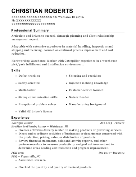 best boutique owner resumes