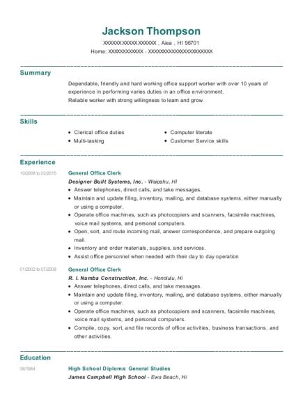 Best General Office Clerk Resumes | ResumeHelp