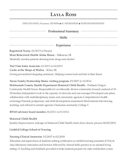View Resume. Registered Nurse