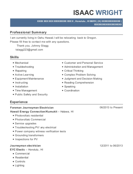 Hawaii Energy Connection Foreman Journeyman Electrician Resume ...