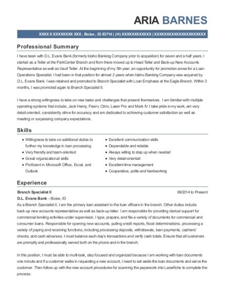 View Resume. Branch Specialist II